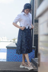 Denim Floral Skirt Set