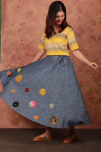 Denim Patch-work Skirt Set