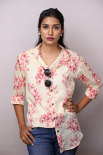 Load image into Gallery viewer, Floral Mul Shirt - Yellow (With Cotton Slip)