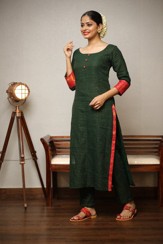 Sungudi Green Suit Set