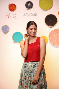 Red Crop Top with Patola Skirt