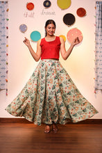 Load image into Gallery viewer, Red Crop Top with Patola Skirt