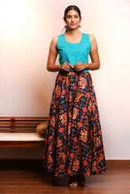 Load image into Gallery viewer, Teal Crop Top with Patola Skirt