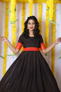 Sungudi Black - Maternity/Nursing Dress