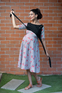 Black Stripe Floral Nursing Maternity/Nursing Dress