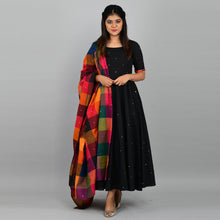 Load image into Gallery viewer, Black Manjari With Madras Checks Dupatta