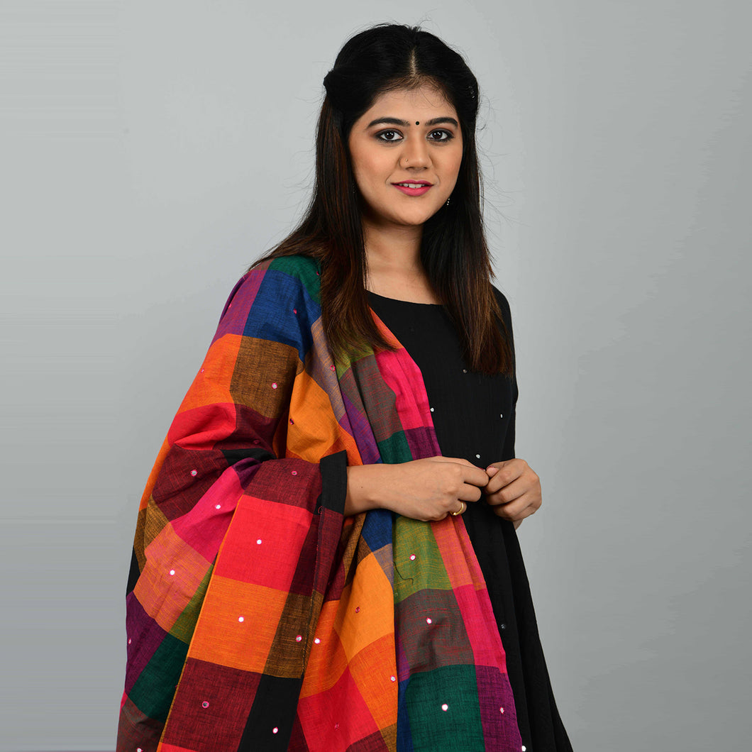 Black Manjari With Madras Checks Dupatta