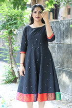 Load image into Gallery viewer, Black Manjari Zari Dress