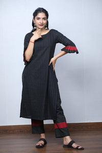 Black Handloom Stripe Kurta Set