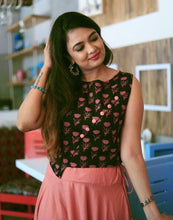 Load image into Gallery viewer, Peach Floral Skirt & Crop Top