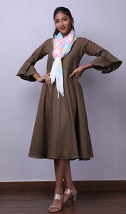 Solid Brown Midi with Scarf