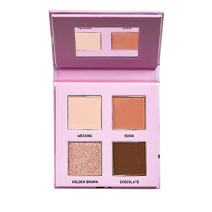 Romanticbeauty Milk tea girl four color eyeshadow dish not dizzy dye waterproof durable natural nude makeup new hand parity