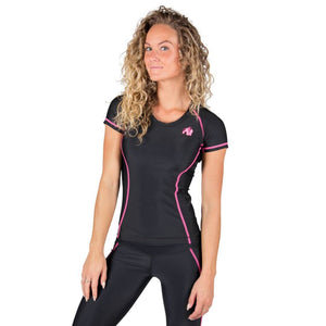 Carlin Compression Short Sleeve Top Black Pink