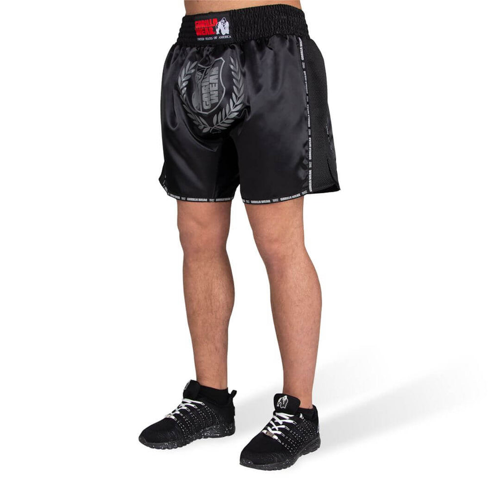 Murdo Muay Thai Kickboxing Shorts Black Grey Camo