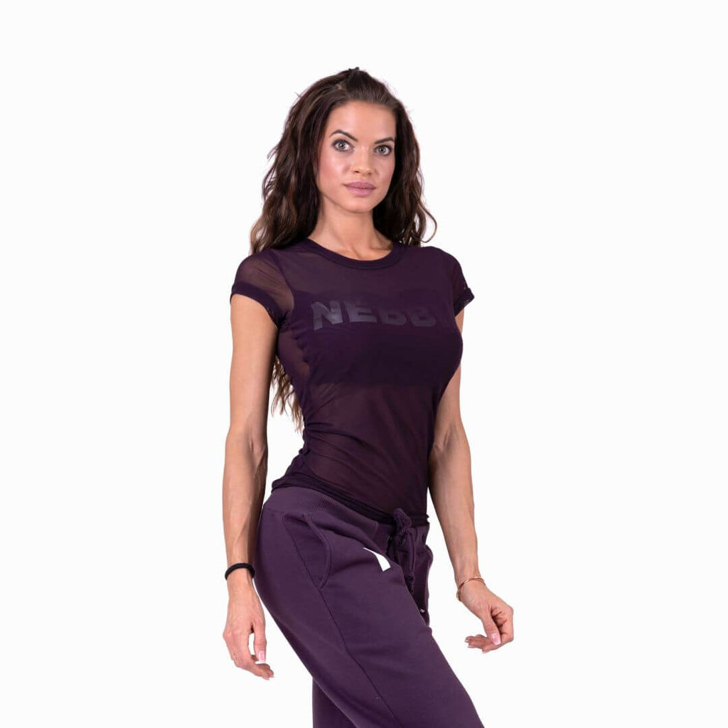 Nebbia Flash Mesh T Shirt Burgundy