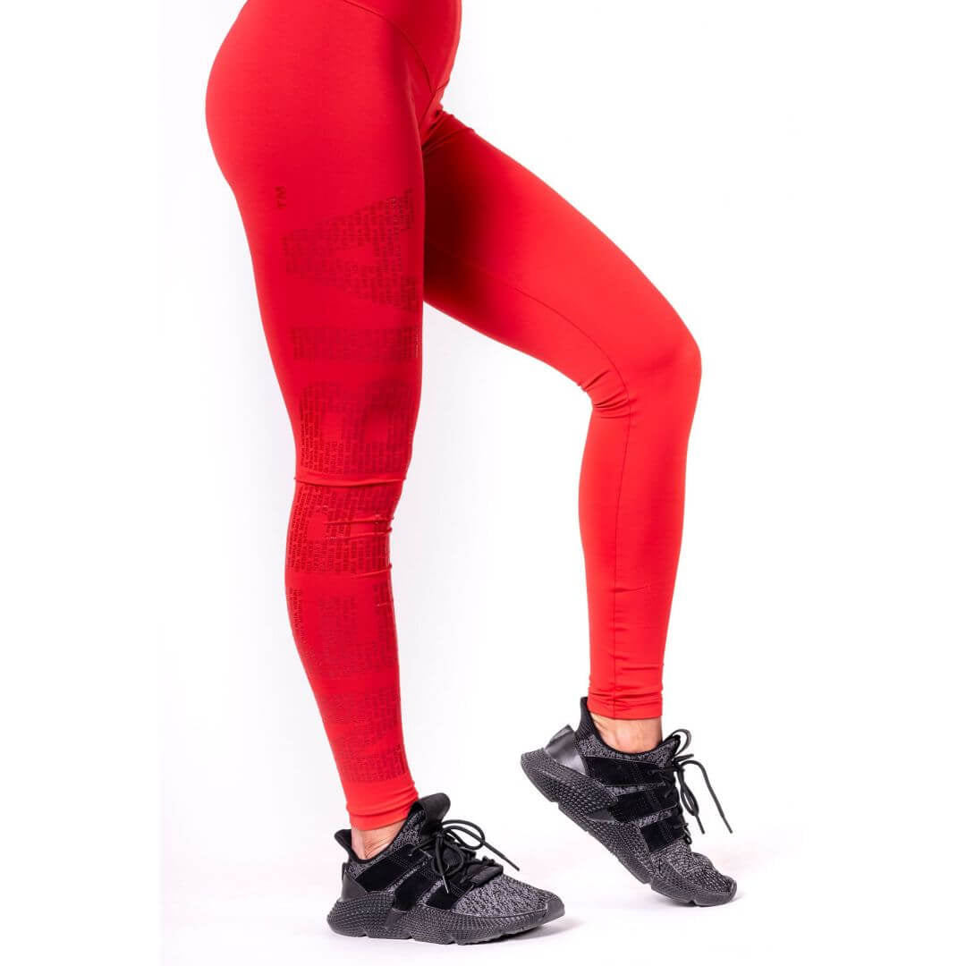 Nebbia One Tone Pattern Tights Red