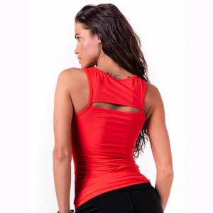 Nebbia Rib Cut Out Top Red