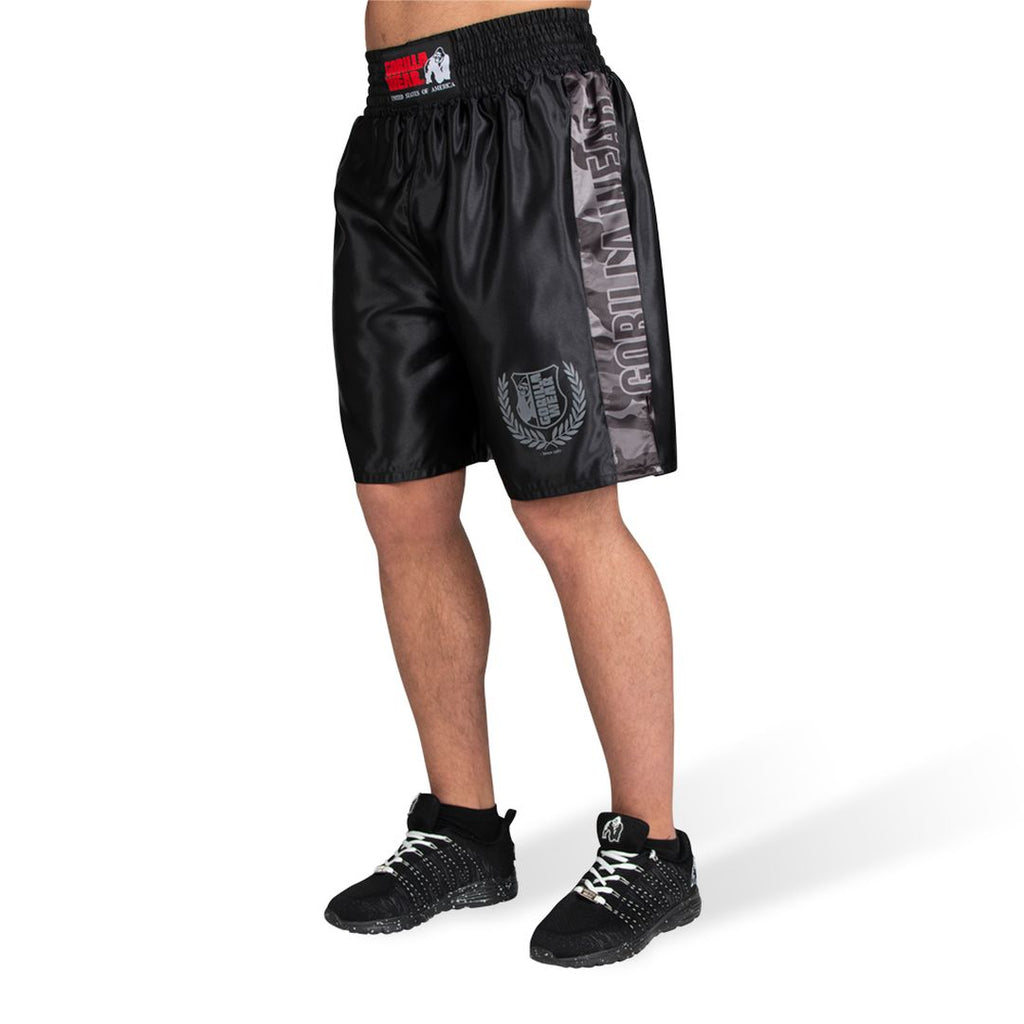 Vaiden Boxing Shorts Black Grey Camo