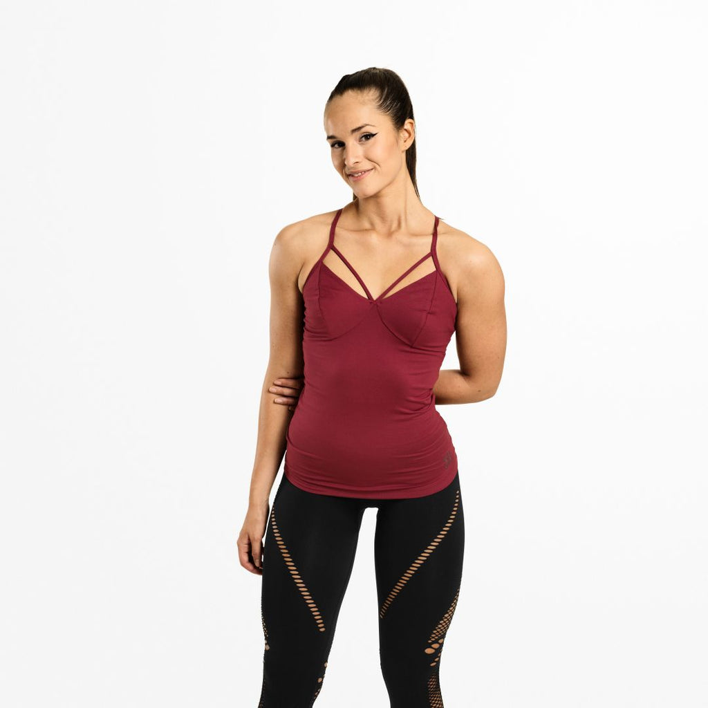 Waverly Strap Top Sangria Red
