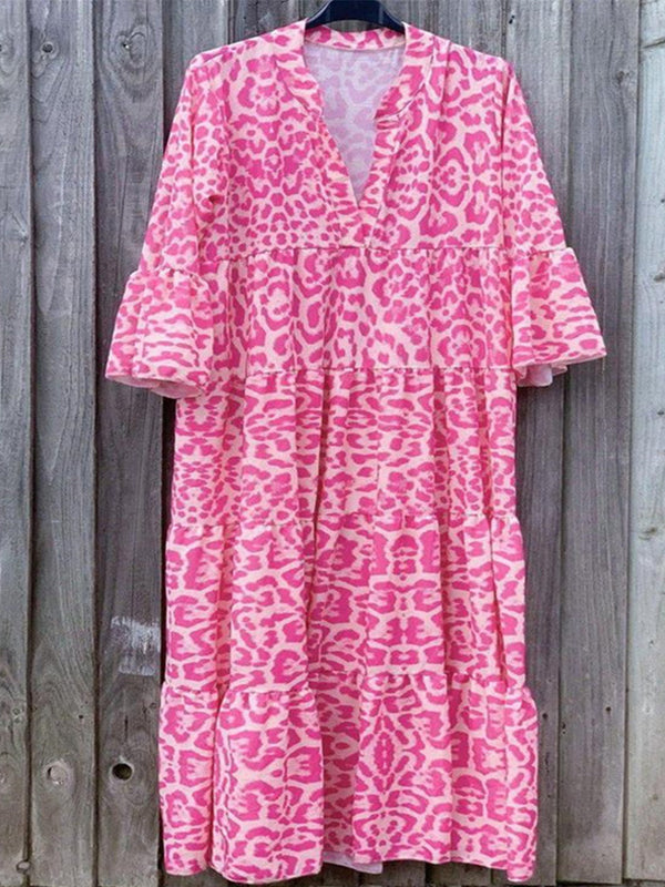 Rose Demi Manche Col V Robes Maxi