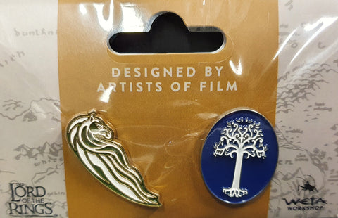 Weta Collectible Pin Set. Rohan Horse and White Tree of Gondor
