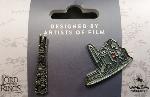Weta Collectible Pin Set.  Helm's Deep and Orthanc