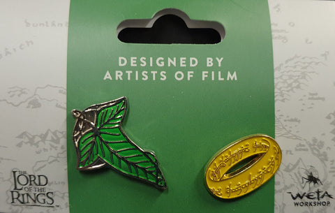 Weta Collectible Pin Set.  Elven Leaf and The One Ring