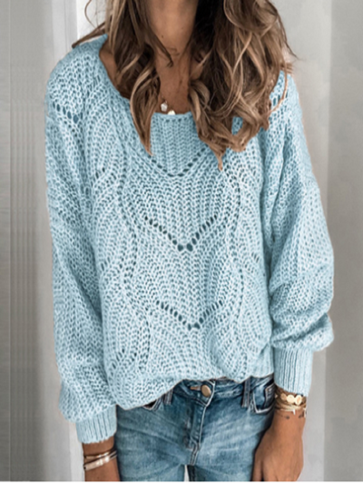 Blue Crew Neck Long Sleeve Shift Acrylic Sweater