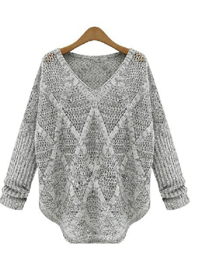 Gray V Neck Long Sleeve Sweater
