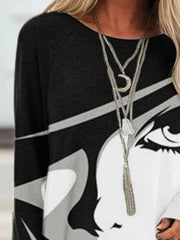 White-Black Vintage Crew Neck Abstract Shirts & Tops