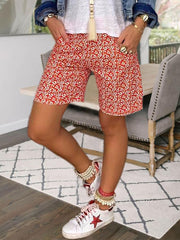 Red Gathered Holiday Floral Cotton Pants
