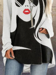 White Abstract Vintage Cocoon Crew Neck Shirts & Tops