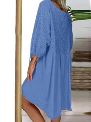 Long Sleeve Cotton V Neck Solid Dresses