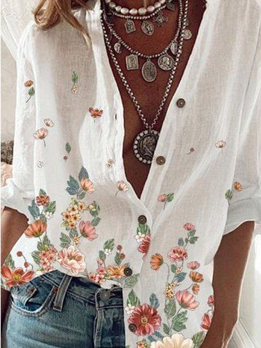 White Long Sleeve Floral V Neck Shift Shirts & Tops