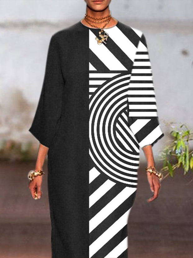Black Shift Long Sleeve Geometric Crew Neck Dresses
