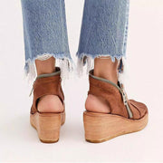 Block Heel Summer Faux Leather Sandals