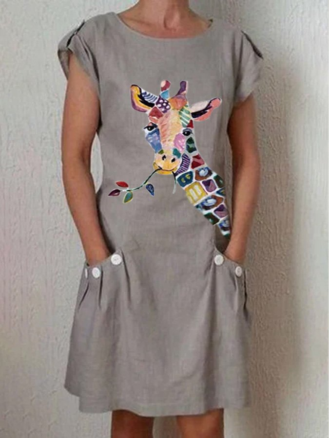 Gray Shift Animal Casual Crew Neck Dresses