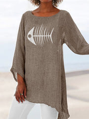 Casual Long Sleeve Cotton Crew Neck Shirts & Tops