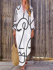 Graphic Long Sleeve V Neck Dress