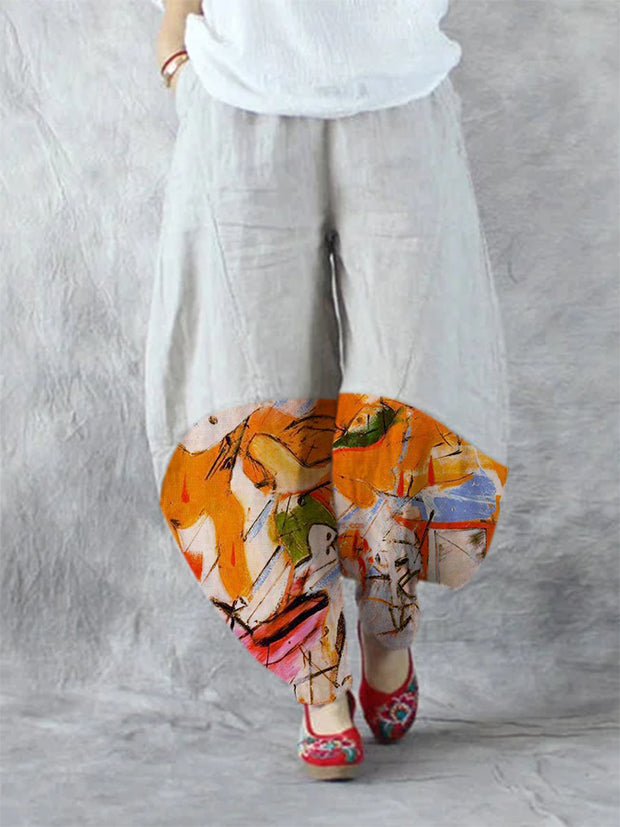 White Tribal Vintage Cocoon Pants