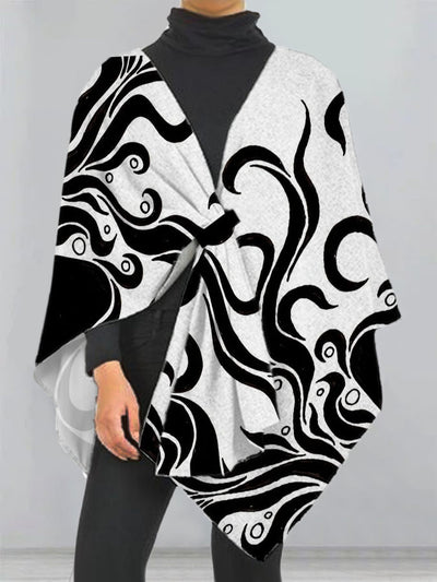 Black Printed Casual A-Line Outerwear