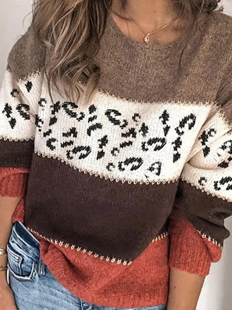Red Brown Casual Color-Block Long Sleeve Shift Sweater