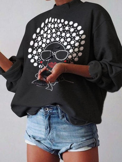 Black Long Sleeve Turtleneck Floral-Print Sweatshirt