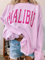 Cotton Shift Long Sleeve Letter Sweatshirt