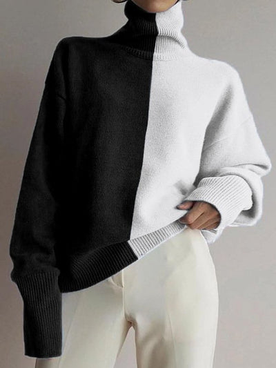 Women's Casual Color-Block Knitted High Collar Loose Sweater