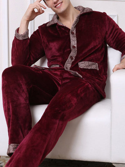 Men's Flannel Long Sleeve Warm Lapel Homewear Suit