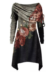Casual Floral Tunic Round Neckline A-line Dress