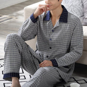 Gray Cotton Casual Houndstooth Shirt Collar Sleepwear & Loungewear