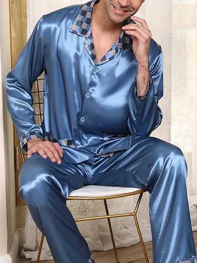Blue Plain Shirt Collar Casual Sleepwear & Loungewear