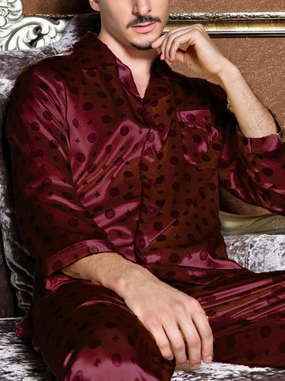 Mens Silk Satin Pajamas Sleepwear